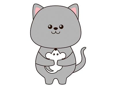 Cute little cat hugs a mouse logo icon character cartoon illustration design art mascot fun happy animal vector card kawaii friend friendship mouse hug