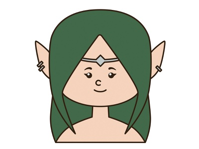 Elf queen portrait kawaii logo icon character cartoon illustration design art mascot vector magic fantasy fairy tale woman girl