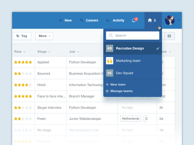 Team switcher select dropdown navbar recruiting recruitee saas web admin switcher toggle team