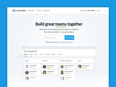 Recruitee Website Redesign pipeline navbar layout header team blue logo design homepage website recruiting recruitee
