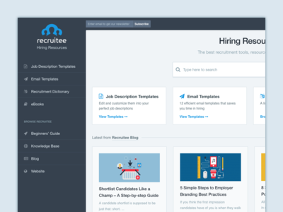Hiring Resources site brand recruiting hiring resources blog template design site