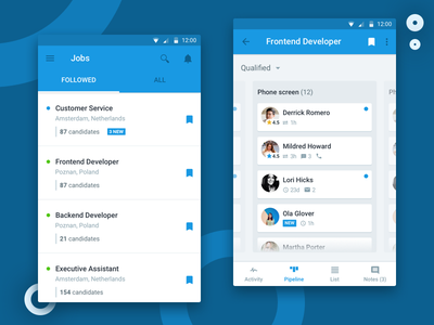 Mobile 3 recruitee mobile app mobile recruiting hiring ats android ios candidates offers candidate jobs pipeline