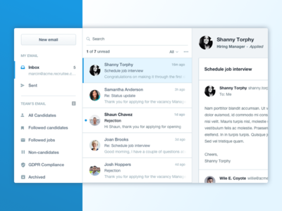 New mailbox email thread candidate filters admin compose send inbox incoming mailbox webapp product