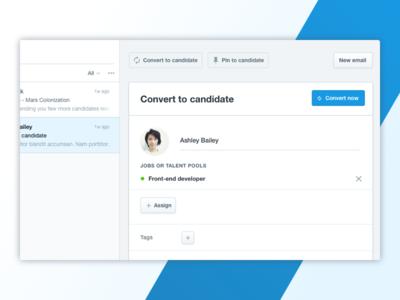 Mailbox - Convert to candidate feature hiring compose admin saas candidate convert mail inbox mailbox