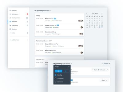 Dashboard update material radio toggle filters calendar sidebar dashboard interface ui saas admin