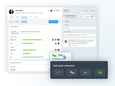 Evaluations rating summary score thumbs buttons admin saas ui interface sidebar calendar filters