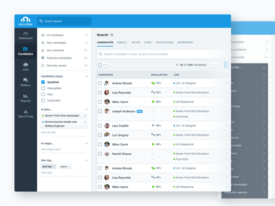Update to Recruitee Search tag sort by bulk actions boolean search hiring filters interface ui saas admin buttons
