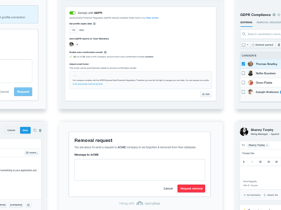 GDPR in Recruitee web app buttons admin saas ui interface filters hiring search eu law gdpr