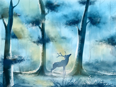 Digital Painting | Morning Forest sketchbook autodesk digital painting illustration design