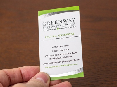 Greenway Bankruptcy Card card silver foil foil identity branding print design business card