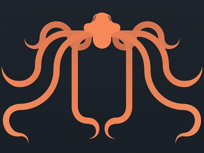 Orange Octopus whats on hulu bread rye rlyeh cthulhu gorgon deep orange vector octo octopus