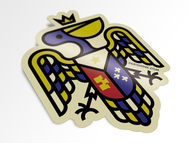 Pelican Sticker Mockup t-shirt acadian flag sticker pelican
