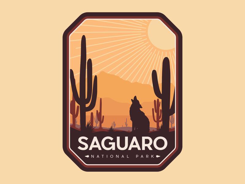 Saguaro NP Badge national park arizona badge design illustration design typography