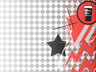 Beer For Breakfast 80s retro vector star lightning bolt logo checkerboard red black