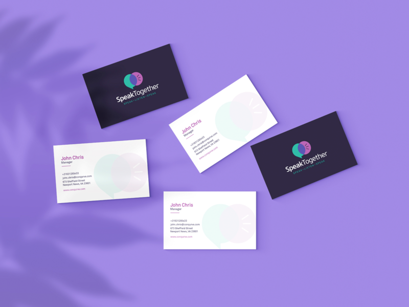SpeakTogether Business Card typogaphy vector marketing modern colors creative logo brand identity creative design design app branding mark minimal business card design business cards business card print design printing press design art printing branding design