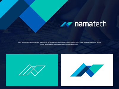 Namatech illustration logo modern colors design