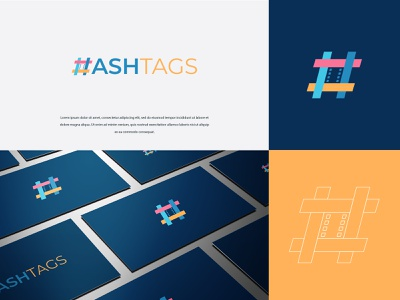 Ashtags vector typography illustration logo modern design