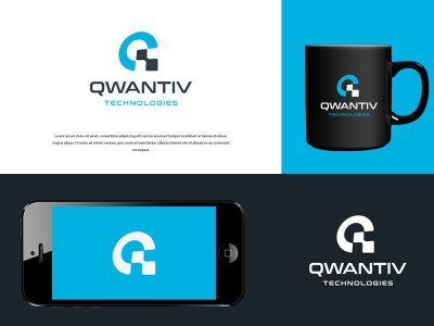 Qwantiv Technologies illustration typography vector logo colors modern