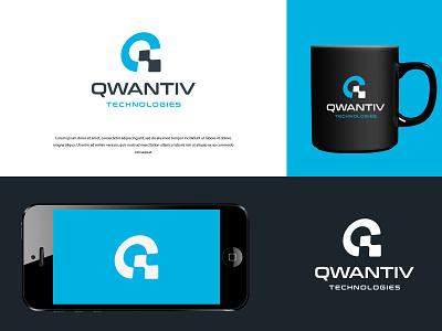 Qwantiv Technologies logo design ux minimal app branding icon design illustration typography vector logo colors modern
