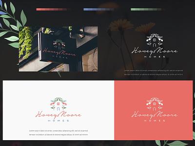 HoneyMoore homes logodesign illustration typography vector logo colors modern design