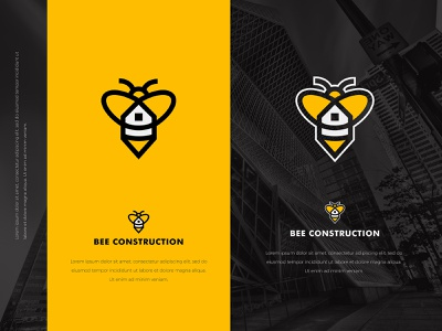 Bee Construction identity flat web app icon logo design branding illustration typography logo colors modern design