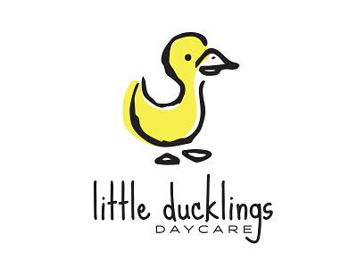 Little Ducklings preschool daycare illustration logo hand drawn drawing kid art kid children child ducklings duck