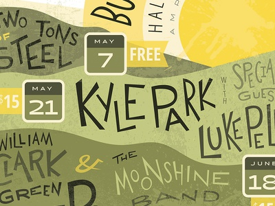 Burnet Summer Concert Series music country music mountains sun hand-lettered poster concert summer