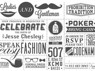 Speak Easy letterpressed birthday prohibition mustache pipe glasses vintage chipboard