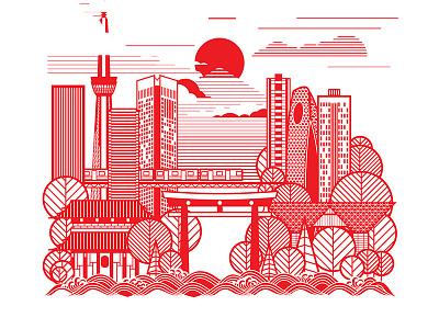 Tokyo Designweek japan tokyo workshop screenprinting place screen print icon ibm design thinking line illustration poster