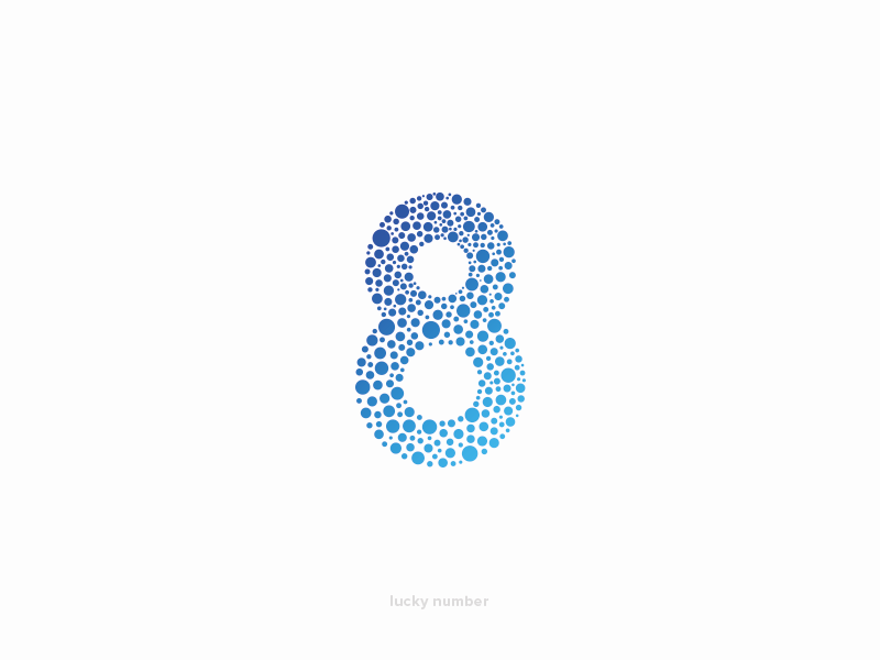 lucky number 8 bubbles 8 particle eight number dots