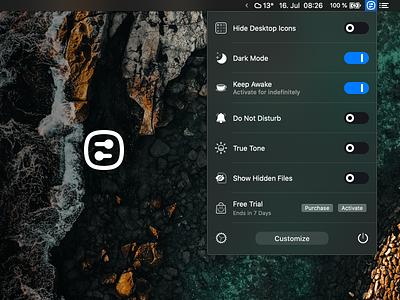 One Switch menu bar icon icon design minimal icon menubar