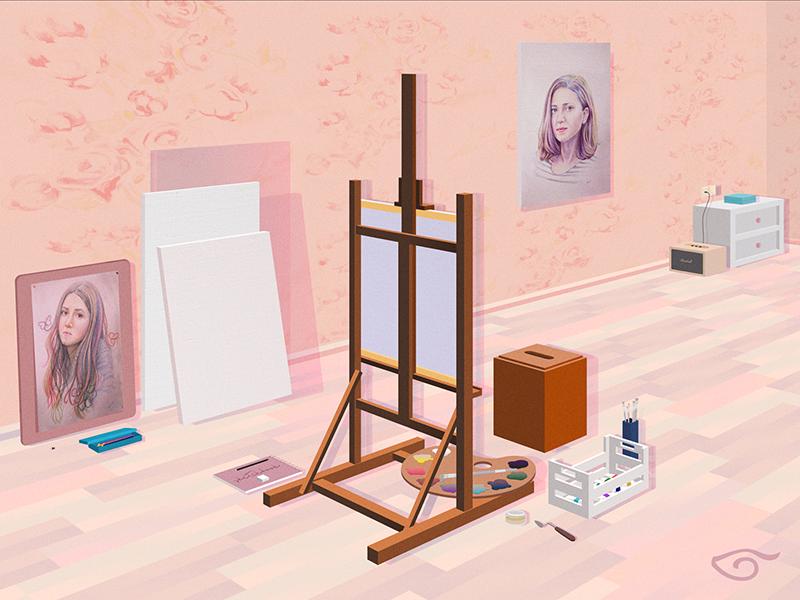 Workshop pallete canvas brushes easel room paint