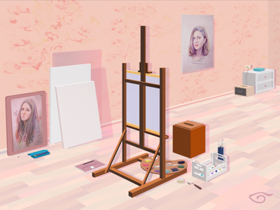 Workshop pallete canvas brushes easel room paint