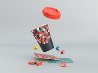 m3 Brand Identity memory card paper cup icons cube pattern colors mockup 3d branding design logo