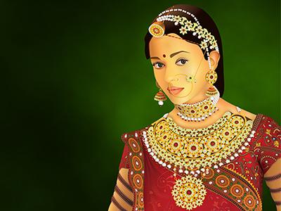 Jodha the bride illustrator aishwarya jodha-akhbar digital illustration