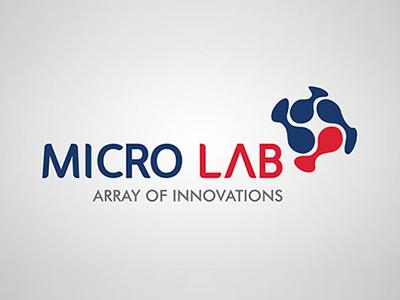 Micro Lab Logo branding illustrator logo blue red lab micro