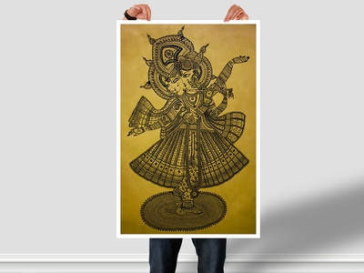 Radha Krishna kalamkari india poster yellow motifs ink black illustration divine gods krishna radha