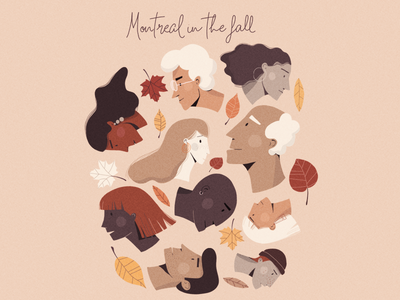 Montreal in the fall weather saison feuille automne hipster mile-end montreal leef autumn fall design illustrator woman character design graphic design illustration