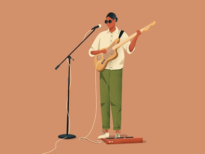 Music sunglasse records music player guitar music men design vector illustrator character design graphic design illustration