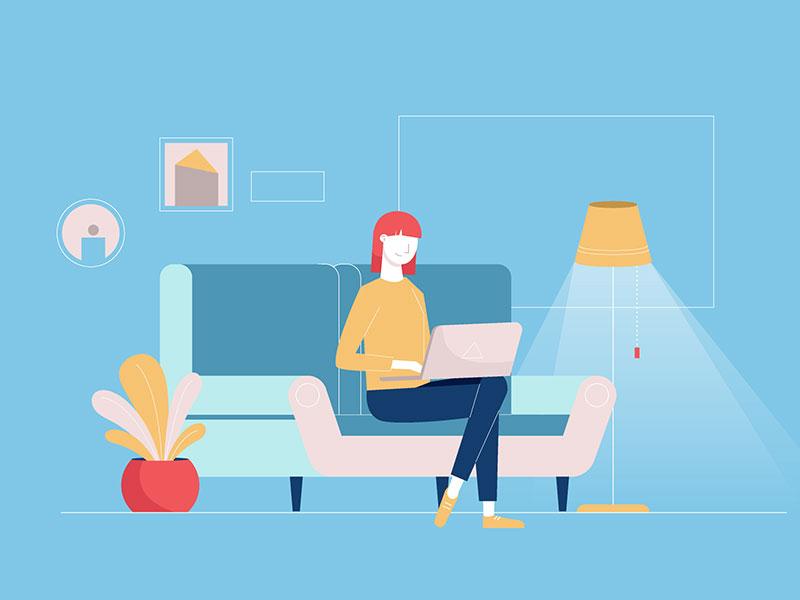 Living room laptop livingroom woman illustrator draw graphic design illustration