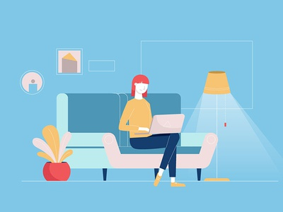 Living room laptop livingroom woman illustrator draw graphic design illustration