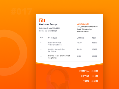 Email Receipt track shopping red purchase order headset electronics invoice emailer dailyui buy mi