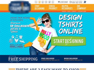 Tshirt Design/Creation website wip wip fun colorful website homepage web site tshirt