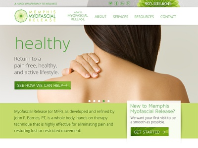 Memphis MFR clean green medical homepage website web site healthy health clinic massage