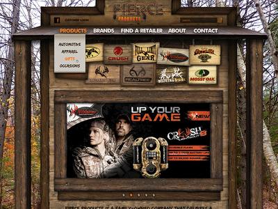 Fierce Products skeuomorphic woods wood hunting website homepage web site woodgrain country