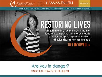 Restore Corps website homepage web site non-profit nonprofit orange blue