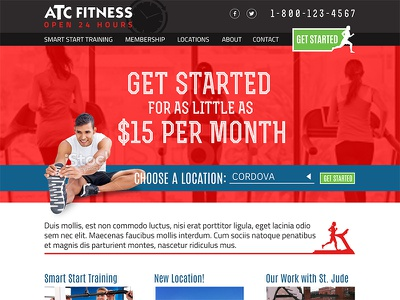 Gym Website website homepage site web red fitness gym masculine