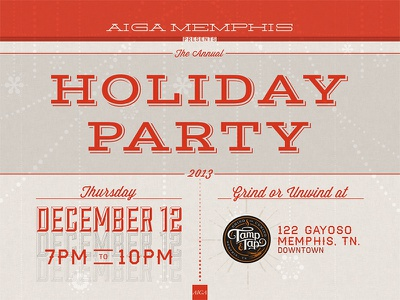 AIGA Memphis Holiday Party party invite invitation holiday christmas red