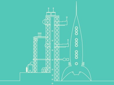 Launchpad line-illustration rocket illustration lines simple launch launchpad spaceship