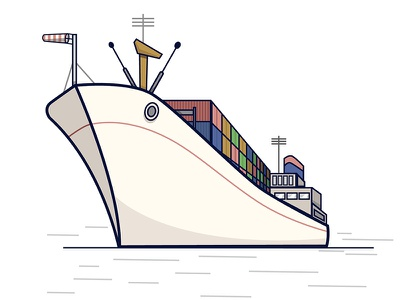 Container Ship Illustration illustration ship container boat line drawing